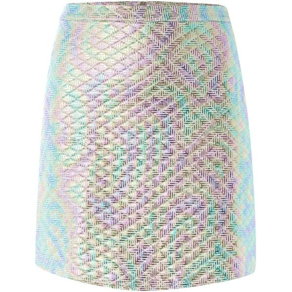 Jaded London Iridescent quilted skirt ($50) ❤ liked on Polyvore featuring skirts, mini skirts, bottoms, pink, women, a line mini skirt, quilted skirt, short mini skirts, metallic skirts and zipper mini skirt