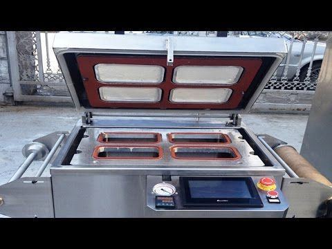 vacuum sealing machine tray boxes fast food containers sealer equipment with gas flushing function - YouTube
