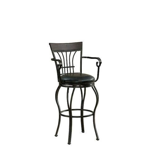 American Heritage Billiards Trinity Bar Stool Trinity 45 Tall Metal Frame Bar Stool, Pepper (Bonded Leather)