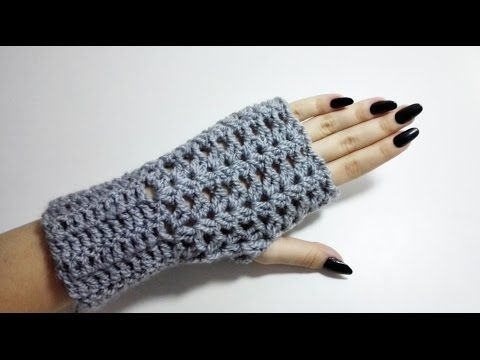 Crochet for left handed: Fingerless Gloves - YouTube