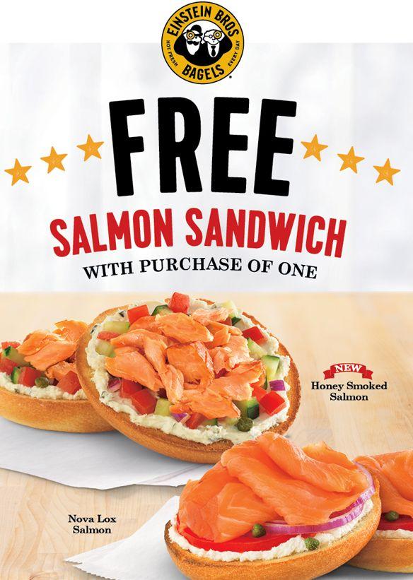 Einstein bros bagels bogo free honey smoked salmon or for Honey smoked fish