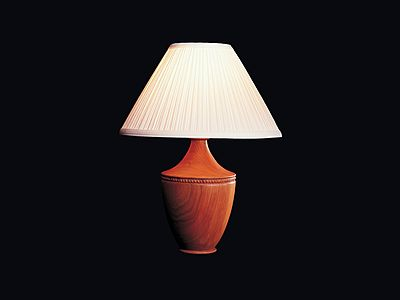 Shackleton Thomas | Table lamp with turned cherry base -- woodturning - wood lamp - contemporary lamps - transitional lamps - traditional lamp -- would go in most design settings