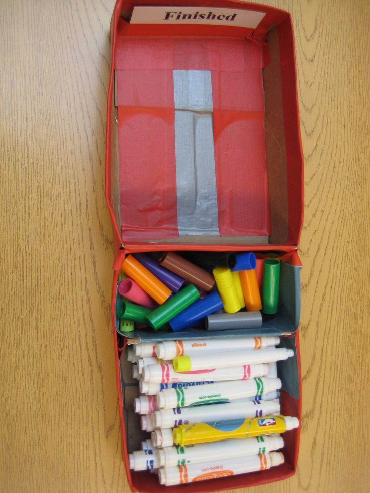 Old dried up markers becomes an easy matching activity.