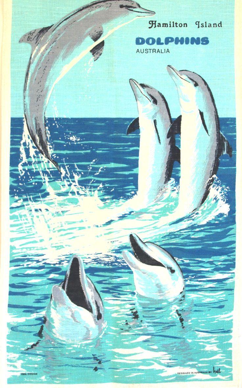 Australian Dolphins Kitsch Tea Towel - 60s 70s Sea Ocean Beach Souvenir Polish Linen Tea Towel - Made in Poland - New Old Stock by FunkyKoala on Etsy