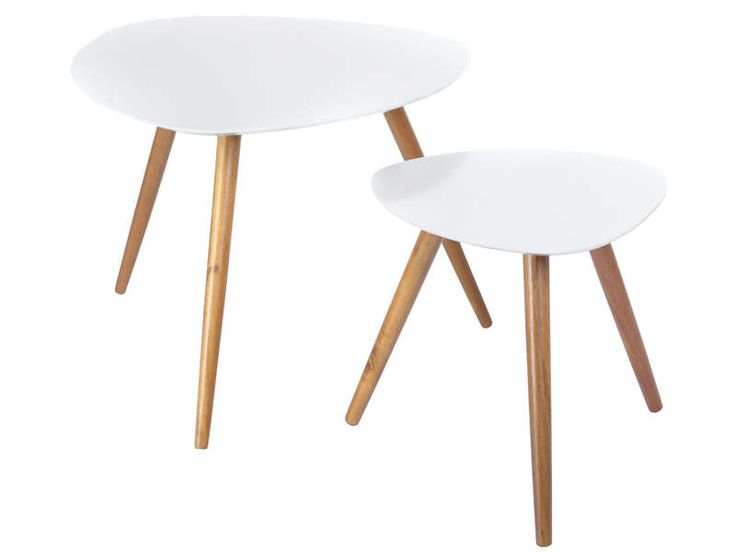 Lot de 2 tables mileo coloris blanc vente de table basse for Table basse blanche pied bois