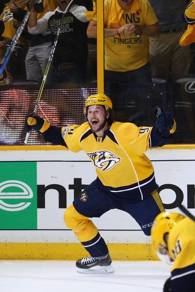 Filip Forsberg Photos - Retransmission with alternate crop.) Filip Forsberg #9 of the Nashville Predators celebrates scoring a goal during the third period against the Anaheim Ducks to tie the game 2-2 in Game Four of the Western Conference Final during the 2017 Stanley Cup Playoffs at Bridgestone Arena on May 18, 2017 in Nashville, Tennessee. - Anaheim Ducks v Nashville Predators - Game Four