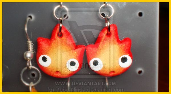 Calcifer Earrings  -  so so so cute! need to find somewhere that sells them or make them!