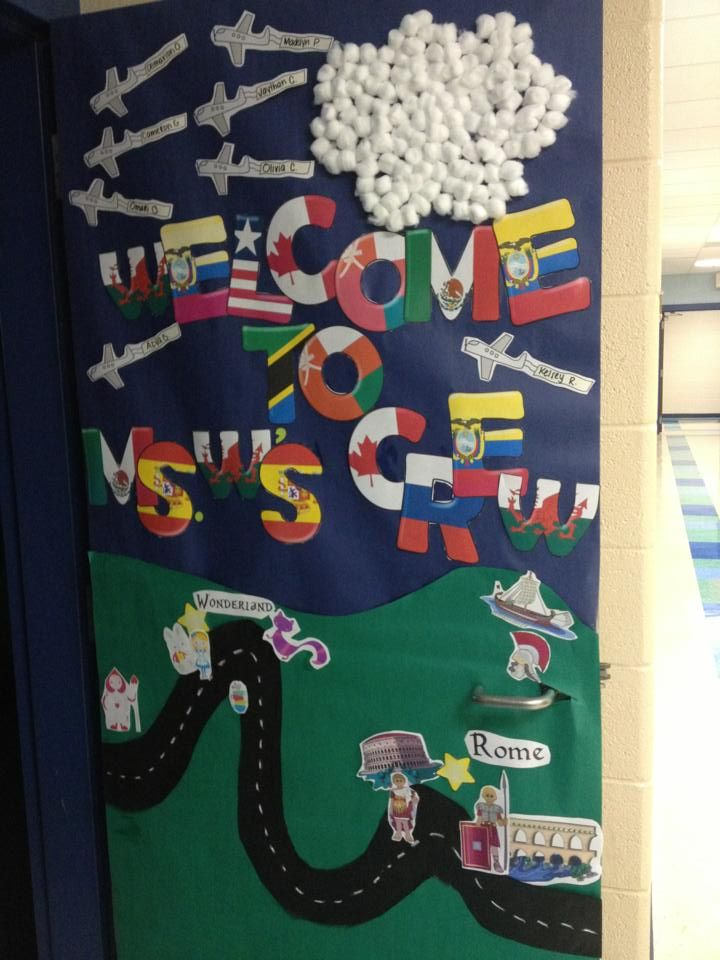 Door decor: Reading Can Take You Anywhere- click for more pics on blog!