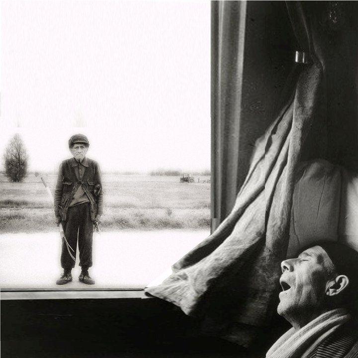 Brassaï Rome-Naples Express, Man Sleeping, 1955