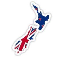 New Zealand Map With Kiwi Flag Sticker