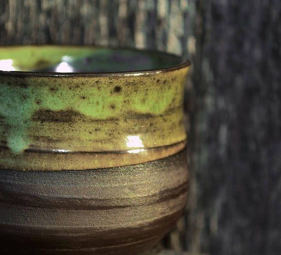 Ceramic chawan  Handmade drinkware  Pottery bowl  Glaze