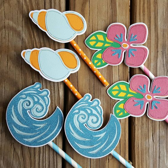 Hawaii Cupcake Toppers, Beach Toppers