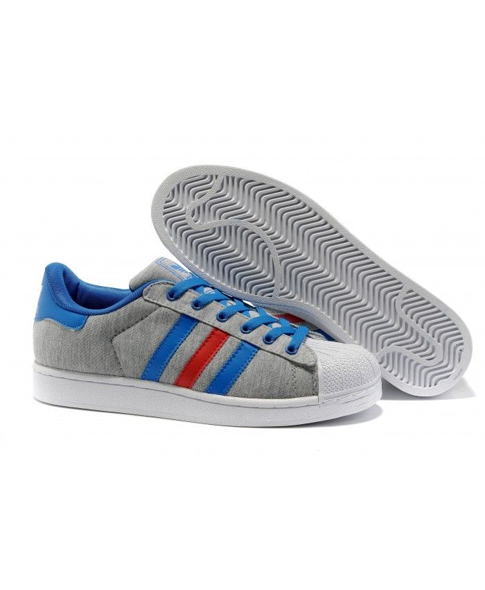 [Black Friday.182] Adidas Superstar 2 Mens Trainers Grey White Blue Red
