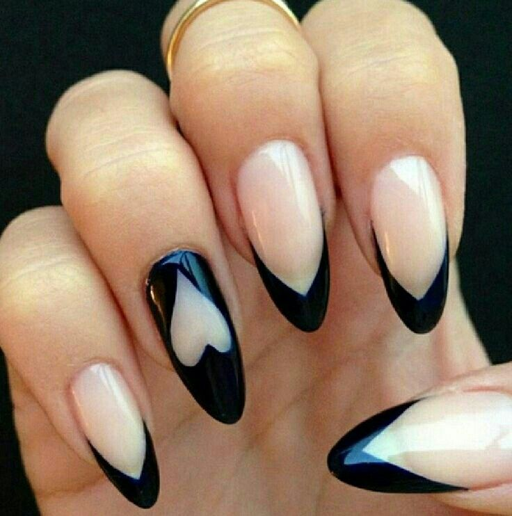 Black tipped stiletto nails with heart design - 54 Best Nails Images On Pinterest Make Up, Stiletto Nail Designs