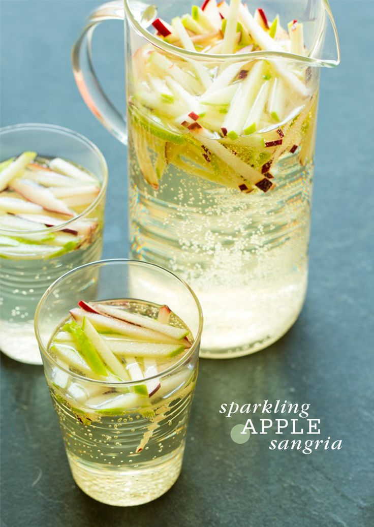 Sparkling Apple Sangria  - 1 (750ml) bottle of Riesling or Pinot Grigio 1 red delicious apple, julienne 1 granny smith apple, julienne 1/2 (750ml) bottle of brut champagne or sparkling wine, chilled
