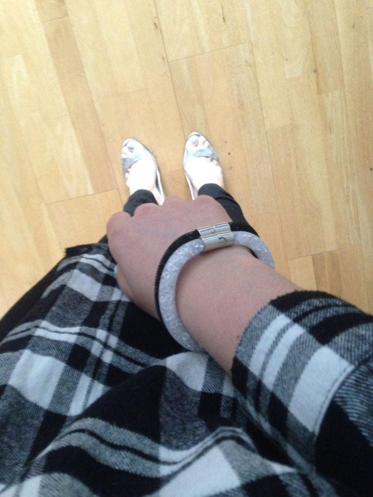 Black & Silver => Silver peeptoe pumps by VERSACE, flannel shirt by MbyM, Black & Silver crystal bracelets by ME