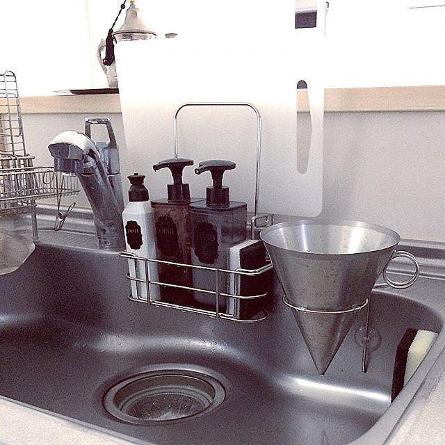 キッチン Bonbonhome ラバーゼ 清潔感 排水口 などのインテリア実例