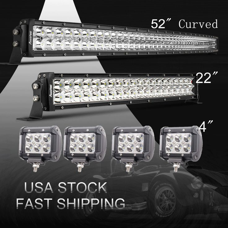 "Curved 52Inch LED Light Bar Combo + 22"" +4"" CREE PODS OFFROAD SUV 4WD FORD JEEP 
