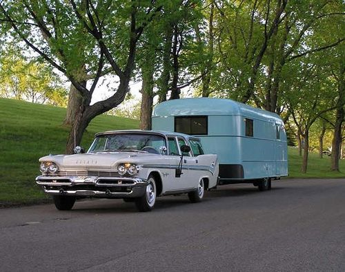 1959 Desoto Fireflite station wagon and 1948 Vagabond trailer