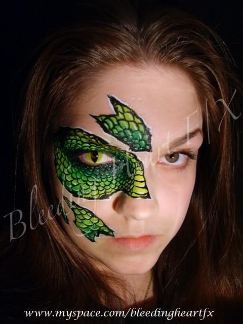 Fashion Facepaint Dragon Scales Green Contact