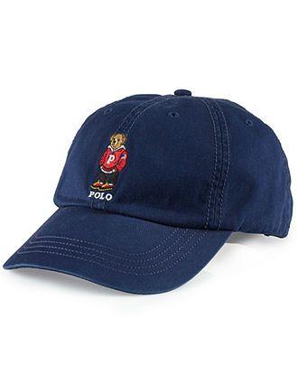 Polo Ralph Lauren Hat, Chino Polo Bear Baseball Cap - Hats, Gloves & Scarves - Men - Macy's