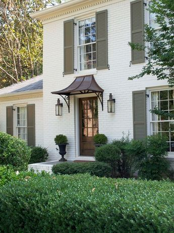 Wonderful White Mountain House Designed in Modern Building Style: Brilliant Mountain Brook Road Home Exterior With White Brick Wall Exterior...