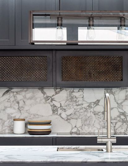 Grey & marble theme kitchen close up