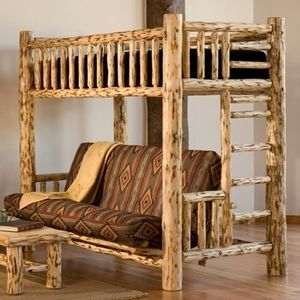 This #log futon / bunk bed is perfect for areas with limited space providing extra functionality. Our durable Lodgepole Pine construction and...