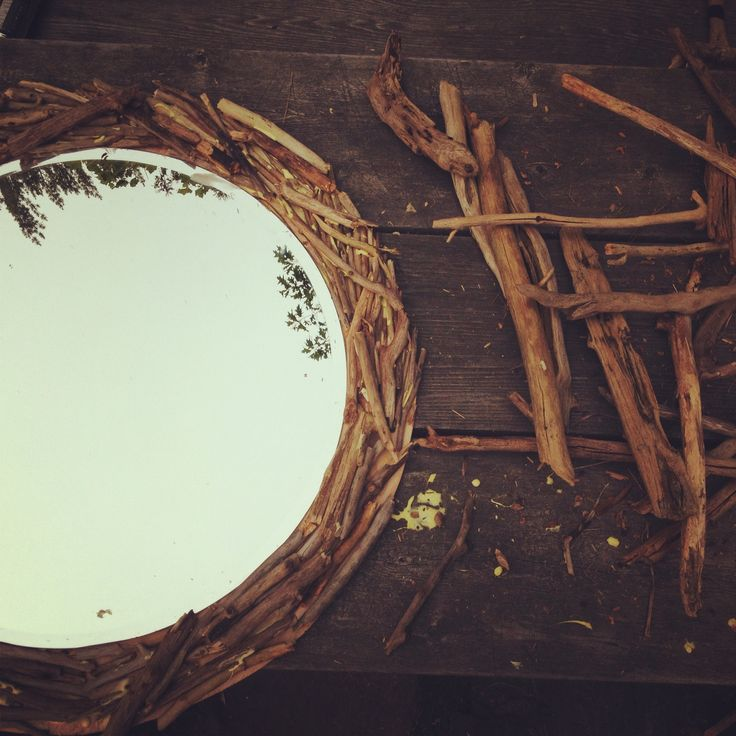 DIY driftwood mirror project.