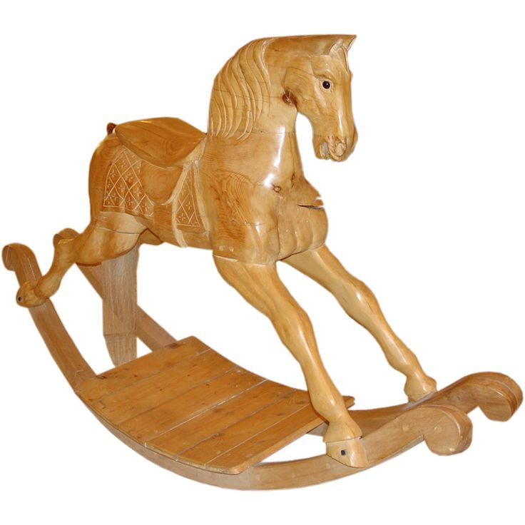 Exceptional Size Wooden Rocking Horse  Italy  20th Century  Large scale carved wooden rocking horse with faux hair tail.