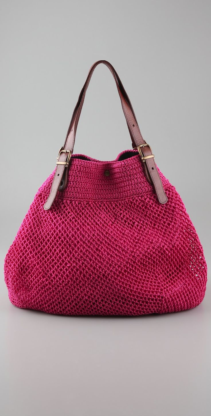 Crochet + Leather Bag