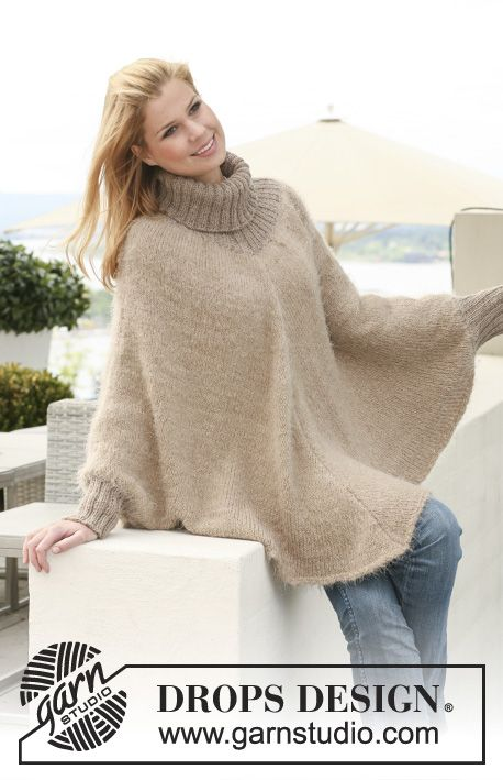 "Hometown / DROPS 123-28 - Knitted DROPS poncho in 1 thread ""Symphony"", 1 thread Melody or 1 thread Brushed Alpaca Silk + 1 thread Alpaca with rib in ""Alpaca"". Size S to XXXL."