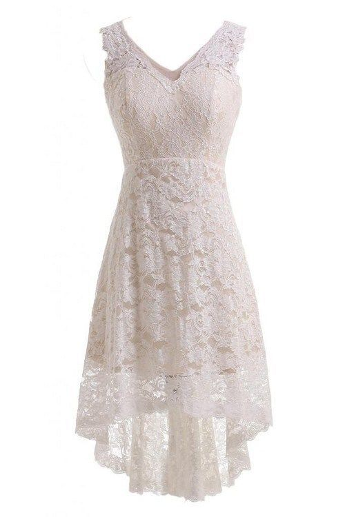New Simple V neck Long Short Lace Wedding Dress Hi lo Beach Bridal Ball Gown Custom
