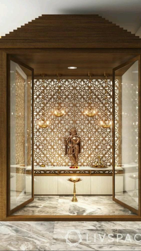 Pooja Room Door Design, Home Room Design, Home Interior Design, Living Room Designs, Wardrobe Interior Design, Interior Designing, Modern Interior, Temple Room, Home Temple
