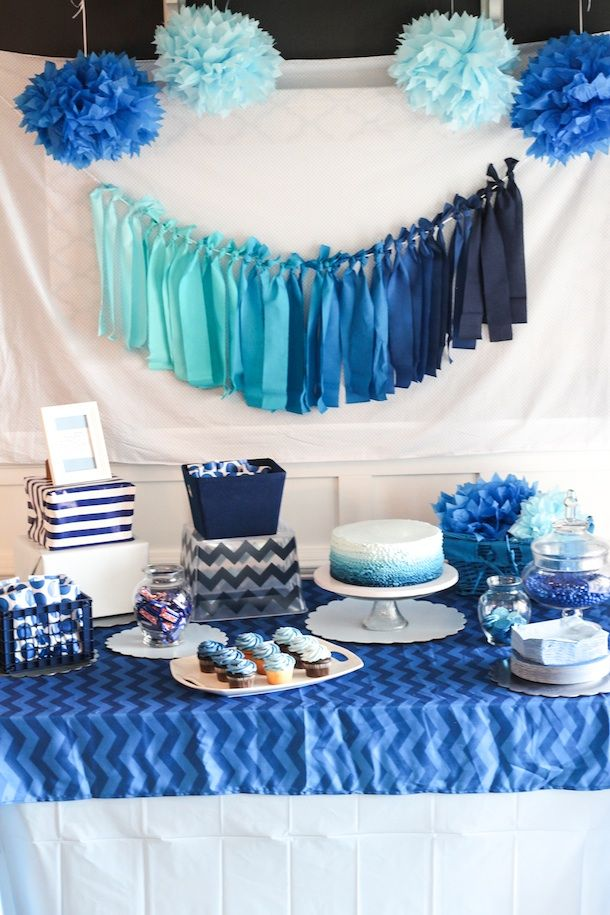 Best 25 blue party decorations ideas on pinterest blue for Baby boy birthday party decoration