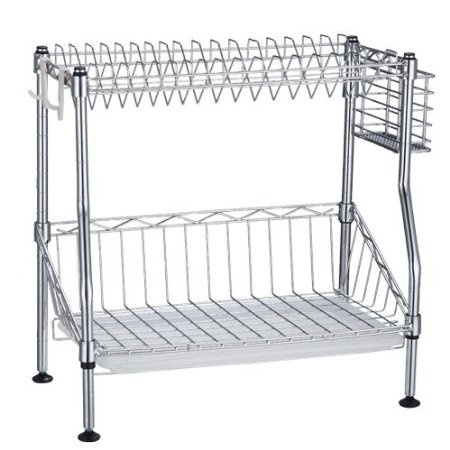 Amazon.com: Welland Adjustable 2 Tiers Dish Drying Rack, Utensil Drying Rack, Carbon Steel With Chrome Finish, Easy Assembly, Holds up to 17 Plates W/Removable Cutlery Basket: Home & Kitchen