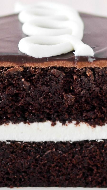 Hostess Cupcake Cake Recipe ~ Chocolate cake, cream filling, chocolate frosting and ganache, and a squiggle on top... So yummy!