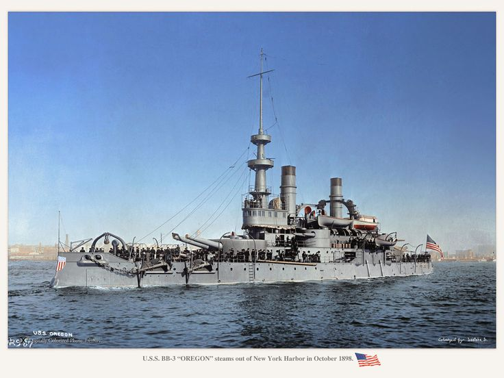 Us Navy Ships 1898 | Oregon with her warpaint on in 1898. She steamed 14,000 miles in 66 ...