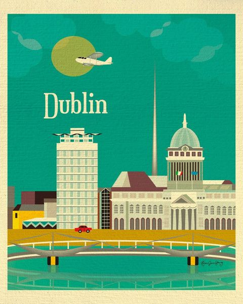 Dublin, Ireland wall art is available in an array of finishes, materials, and sizes, this retro inspired art print will make Dublin feel close to your heart with its bright color palette and unique de