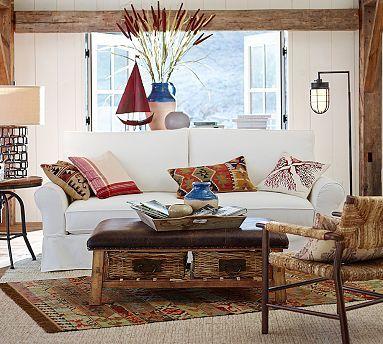 7/15: PB Comfort Roll Slipcovered Box-Edge Cushion Sofa #potterybarn