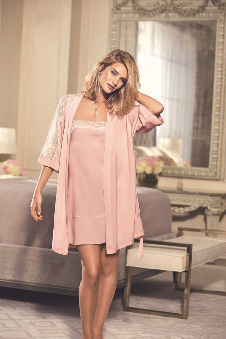 Pin for Later: Rosie Huntington-Whiteley Designed Gorgeous Lingerie, Now She's Showing It Off  Rosie for Autograph Soft Satin Frilled Chemise ($27) and Lace Trim Belted Wrap ($33)