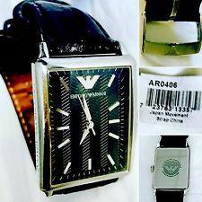 Orologio EMPORIO ARMANI Unisex ref. AR0406 in pelle nera cassa rettangolare ⌚️⌚️ | eBay