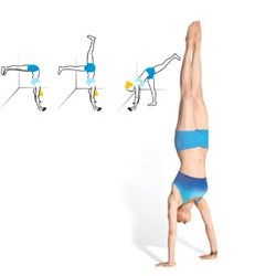"""the-exercist: """" Handstand """" This pose strengthens your shoulders, arms, core, and legs. As you work toward it, keep three things in mind: Rotate your triceps toward your body, keep your neck relaxed,..."""