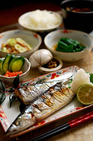 Japanese meal, Sanma (pacific saury) One of my favorite fish. It is a seasonal fish and very  popular in Japan.  V.