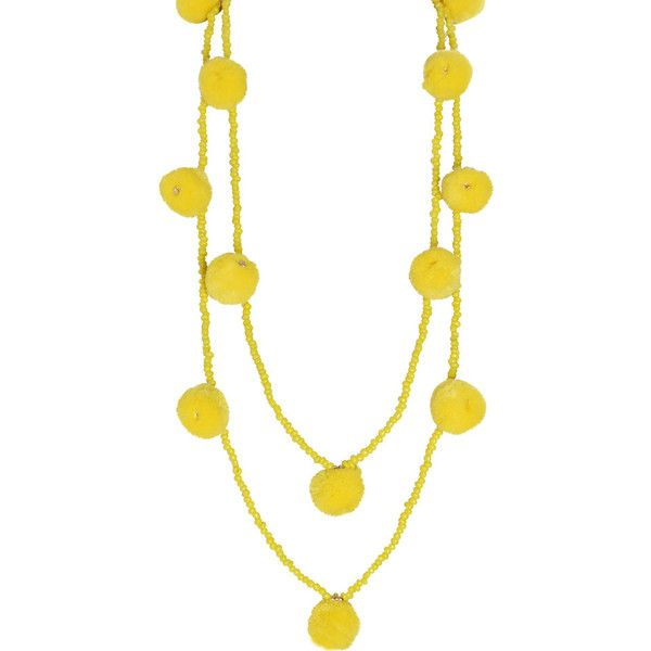 Humble Chic NY Pom Pom Beaded Necklace ($28) ❤ liked on Polyvore featuring jewelry, necklaces, yellow, layered necklace, yellow statement necklace, long necklaces, colorful beaded necklace and statement necklaces