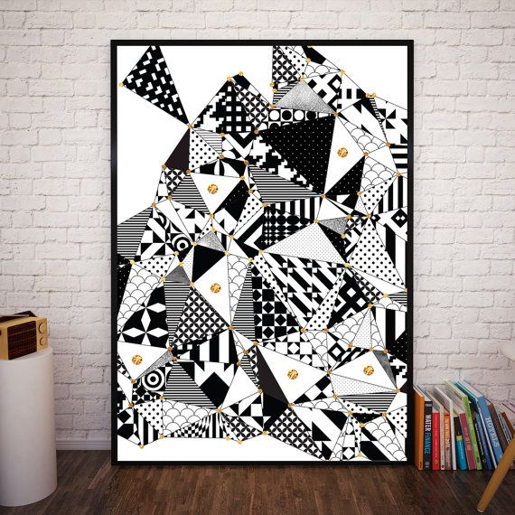 Black and White Triangle Abstract Pattern Art by NordicPrintStudio