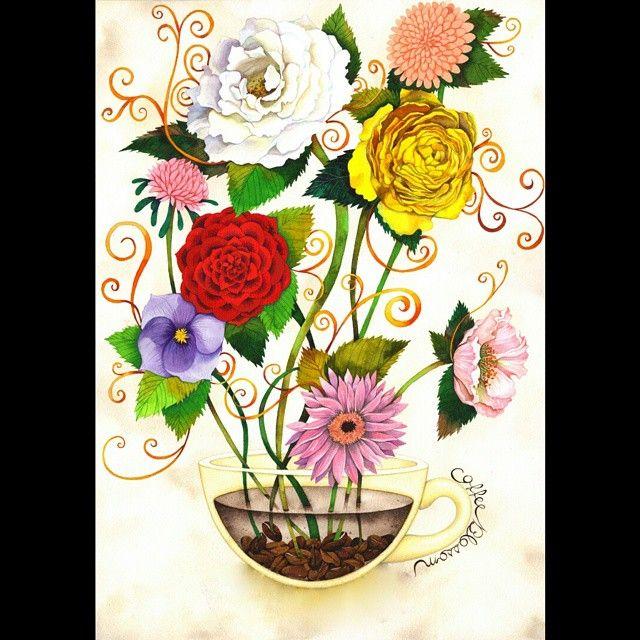 #꽃 내음 한 잔 #봄#coffeeblossom #illustration #일러스트
