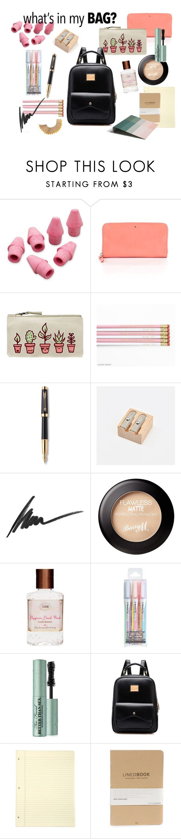 """""""What's in my backpack"""" by estelled23 ❤ liked on Polyvore featuring Paper Mate, Kate Spade, Parker, Max Factor, Too Faced Cosmetics, HAY, BackToSchool, school, backpack and WhatsInMyBag"""