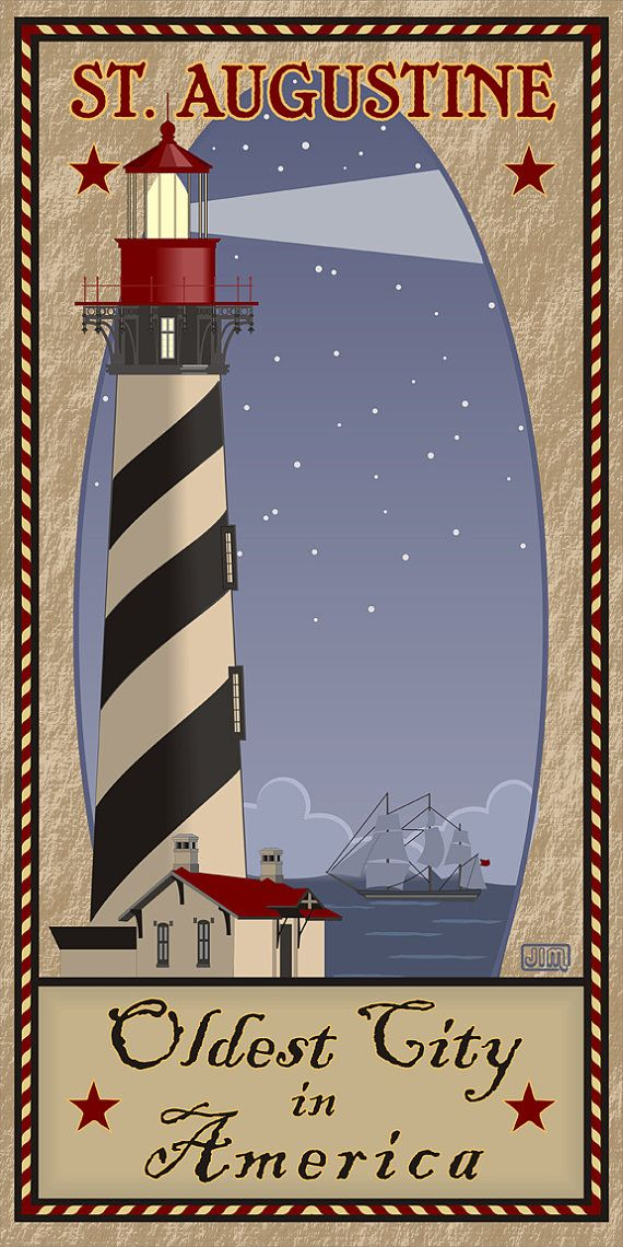 """St. Augustine Lighthouse Travel Poster"" Re-Pinned by St Augustine Ford Dealership Bozard Ford Lincoln, named 2014 Dealer of the Year by DealerRater based on customer reviews. http://www.bozardford.com"