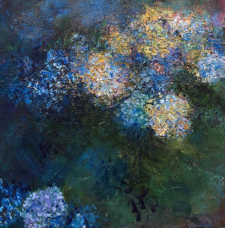 "Fading Hydrangeas - 24"" x 24"" oil on canvas. Available online at jennyvorwaller.com Sept 1."